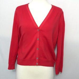 Dress Cardi 3/4 Sleeve Button Down V Neck M 8-10